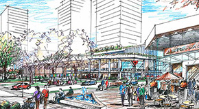 Illustration of Pearson Plaza and the YMCA in the redeveloped Pearson Dogwood lands