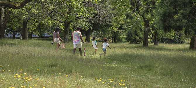 Photo of a family walking in a meadow