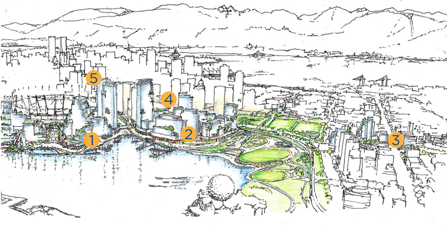 Illustration of Northeast False Creek showing development areas where there will be public benefits
