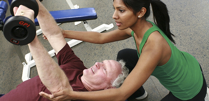 Rehabilitation training in a fitness facility