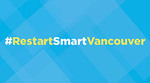 Graphic with blue background and words Restart Smart Vancouver in yellow and white lettering