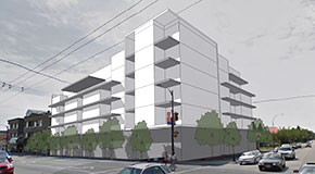 Proposed massing of a building for a rezoning application