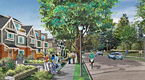 Phase 3 of the Cambie Corridor Plan is focusing on more housing options for families with children like townhouses and rowhouses, shown in this artist's rendering.