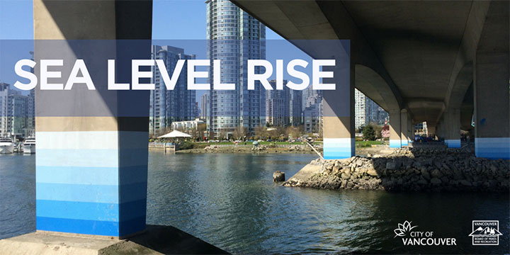 Cambie Street bridge pillars marked for where the sea level will rise over the years