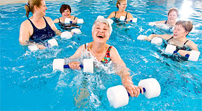 Seniors exercising in a swimming pool