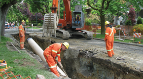 Separated sewer main installation