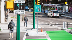 Bike box signs on Pacific Boulevard