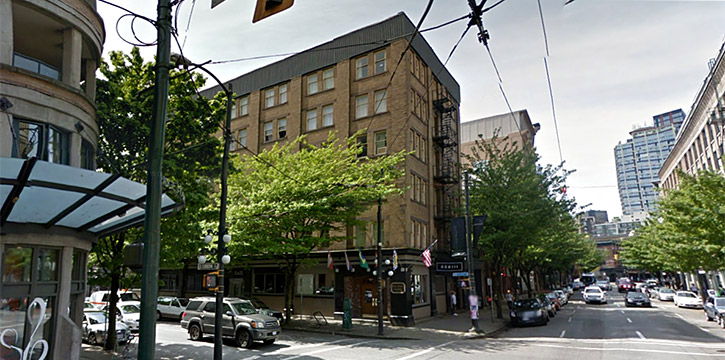 Single Room Accommodation Bylaw-designated building at Columbia and Cordova streets