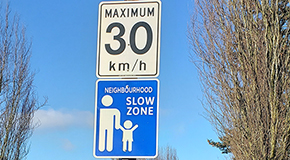 Neighbourhood Slow Zone street sign