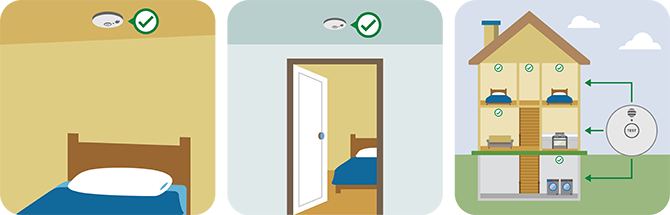 Smoke alarms in house illustration
