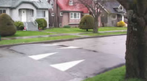 Speed humps are used on residential streets near schools and parks.