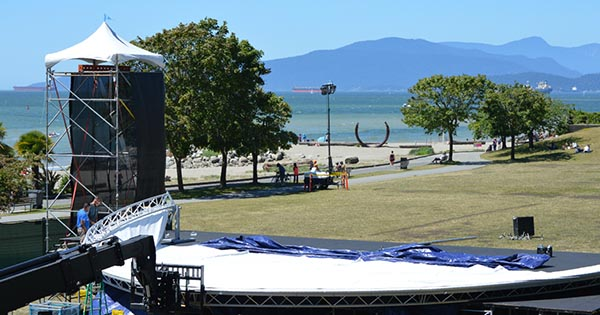 Stage being built at Sunset Beach for the symphony