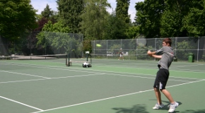 Playing tennis in Stanley Park in Vancouver