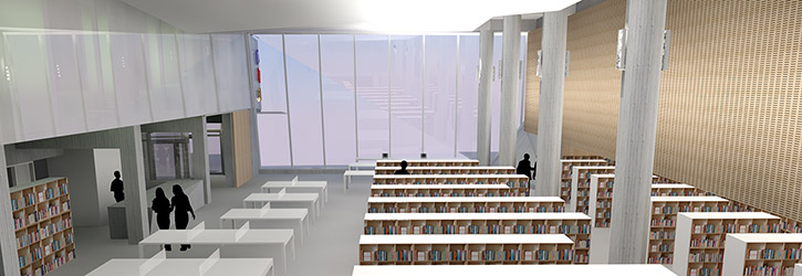 Architect's rendering of the library interior with the sliding door entrance at centre left