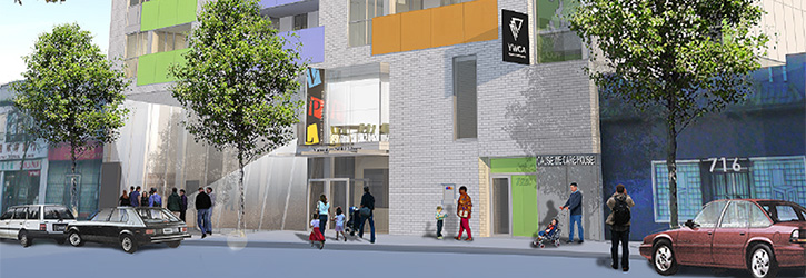 Architectural rendering of the front facade of the nə́c̓aʔmat ct Strathcona Library Branch