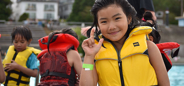 Girl wearing a life jacket