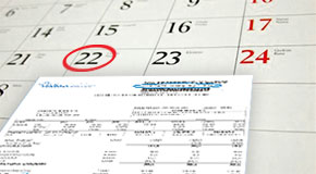 A reminder notice of unpaid taxes and a calendar