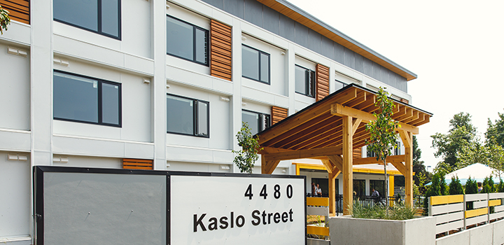 Exterior shot of temporary modular housing at 4480 Kaslo St