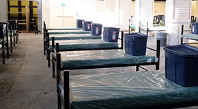 Beds in a temporary shelter