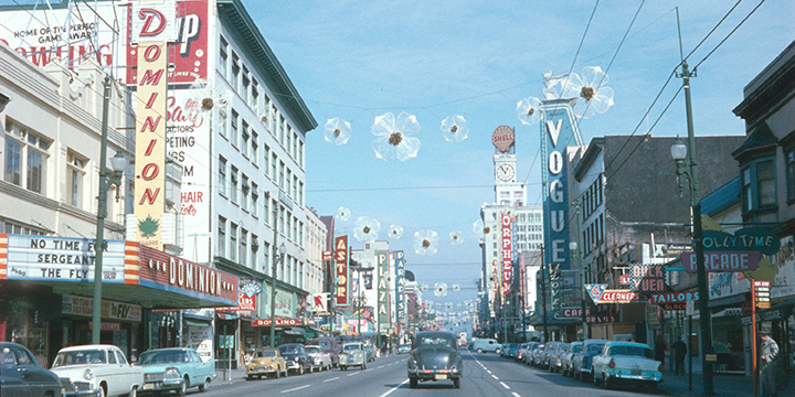 Cars and neon signs on Granville Street facing south in 1958