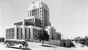 View of Vancouver City Hall in 1936 from Yukon Street