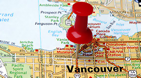 Vancouver map with a pin
