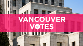Close-up of City Hall with caption: Vancouver votes