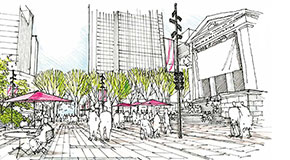 Concept illustration of plaza at 800 Robson Street looking west