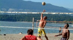 Playing beach volleyball on Kitsilano beach in Vancouver
