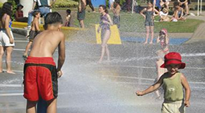 Children playing in waterpark