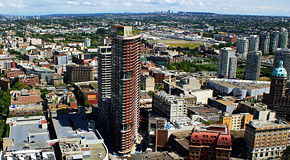 Aerial view of Woodwards building in DTES
