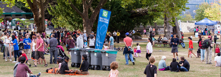 Zero waste recycle station at outdoor festival in Vancouver