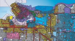 Portion of the colour-coded zoning map of Vancouver