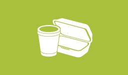 Graphic of a foam cup and foam takeout container