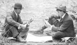 Men playing cards in Stanley Park 1890s