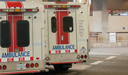 Two ambulances parked at VGH emergency