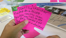 Suggestions for Arbutus Greenway written on sticky notes