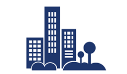 City buildings and trees icon