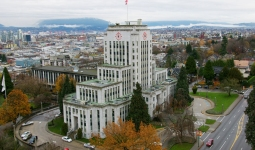 Aerial view of Vancouver City Hall at 12th Avenue and Cambie Street