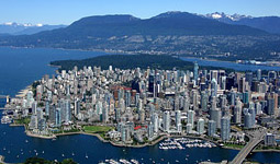 Downtown Vancouver skyline - high rises, mountains, and the ocean