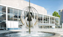Exterior of the Queen Elizabeth Theatre with water fountain in the foreground