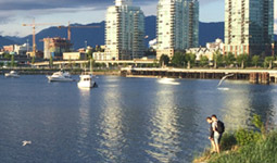 Couple at dusk on False Creek Habitat Island in Vancouver