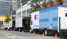 Film trucks parked