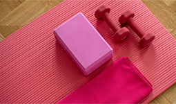 Yoga mat, block, weights, and towel