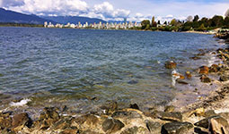 Jericho Beach with downtown Vancouver skyline in the background