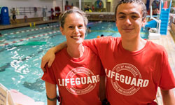 Two lifeguards at pool