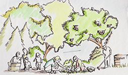 Drawing of people gardening