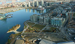 Aerial view of Olympic Village