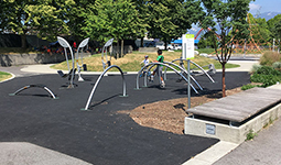 Outdoor fitness equipment at Slidey Slides Park, Vancouver