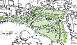 Sketch of the park areas in the Northeast False Creek Area Plan, with a larger Creekside Park